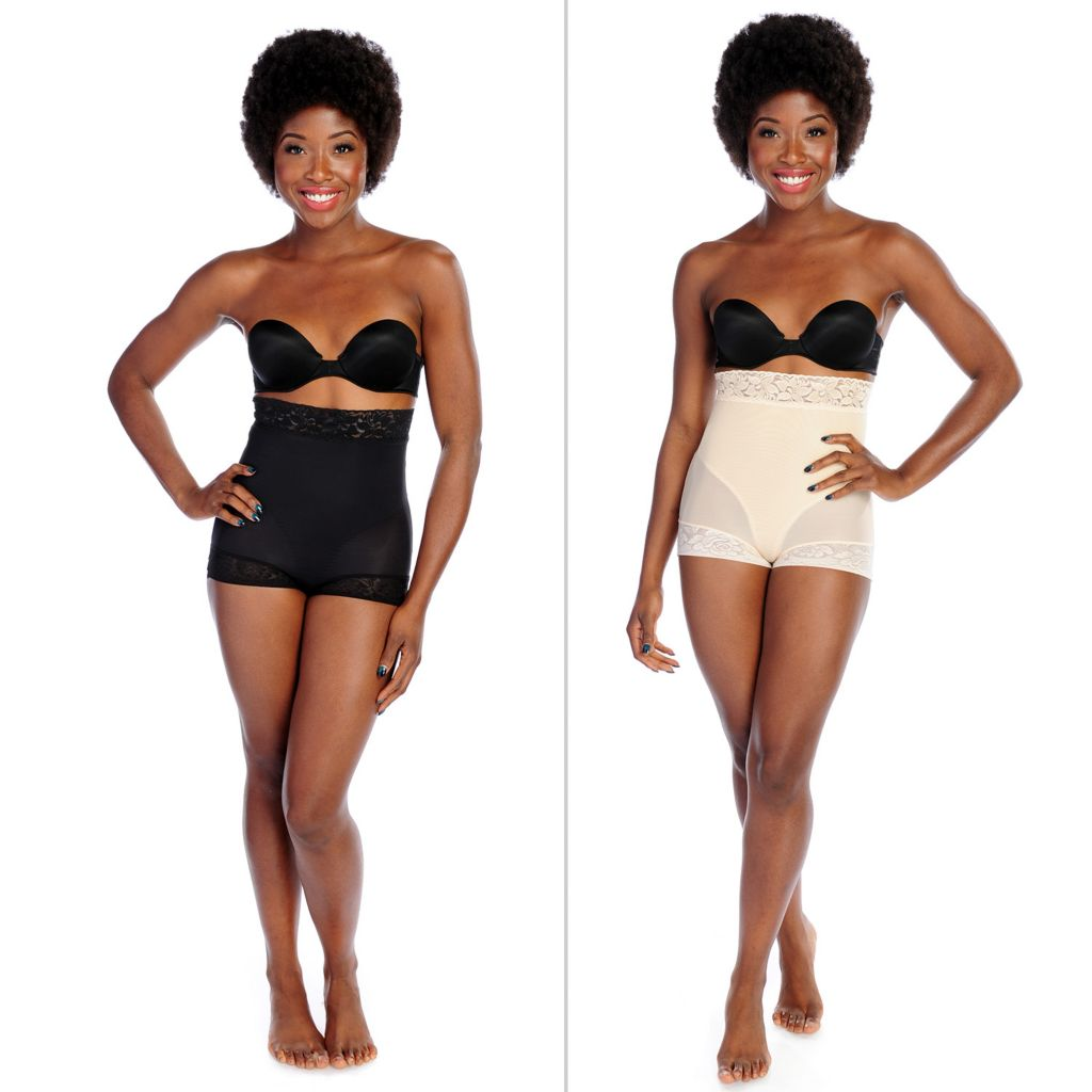 000-804 - Slim 'N Lift AIRE™ Set of Two High Waisted Lace Trimmed Shaping Briefs