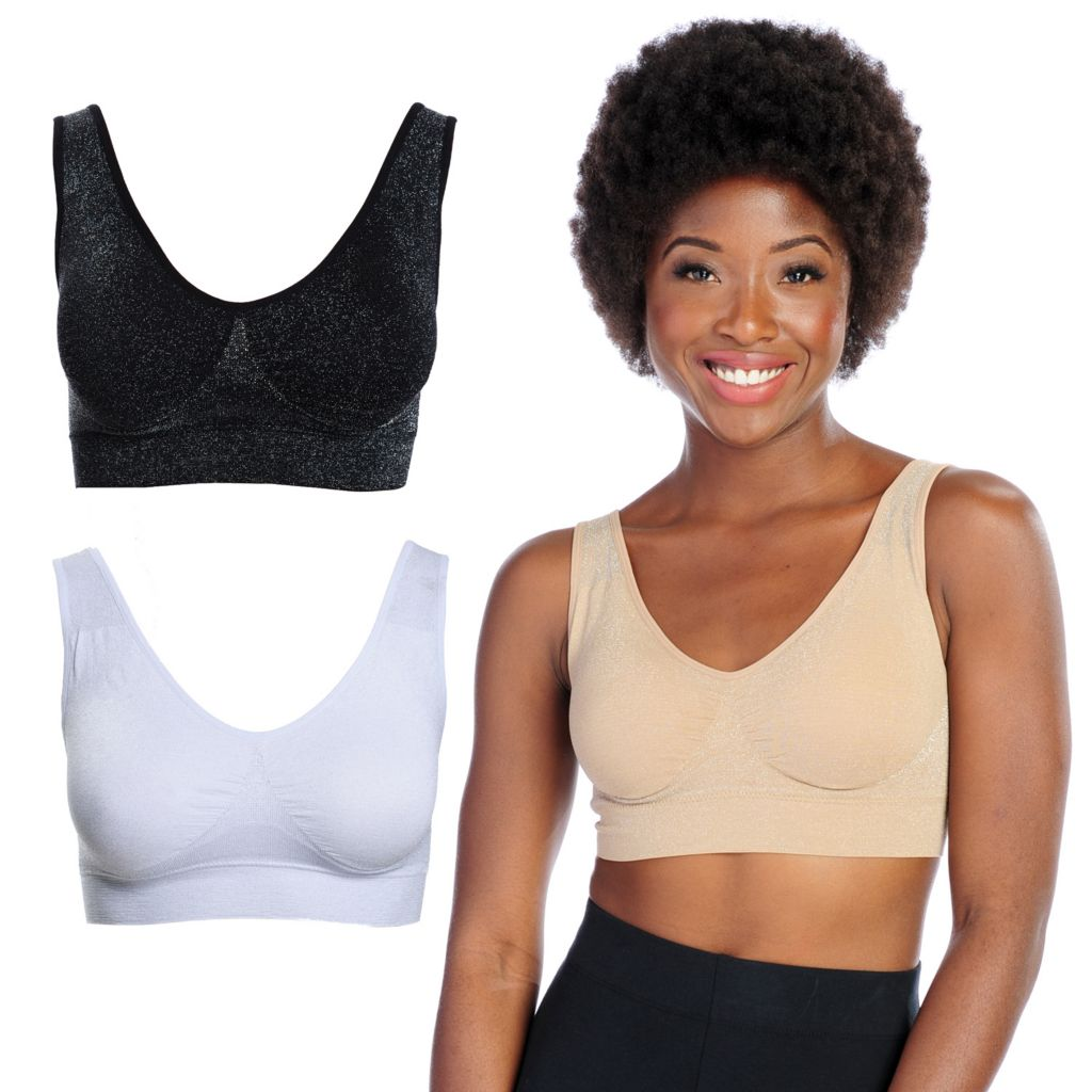 000-808 - Slim 'N Lift AIRE™ Set of Three Sparkle Bras w/ Removable Pads