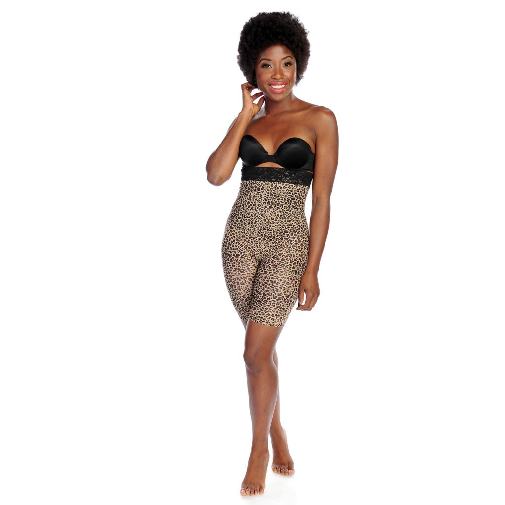 000-809 - Slim 'N Lift AIRE™ Leopard Print Tummy-to-Thigh Shaping Shorts