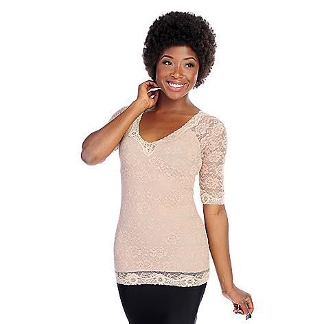 000-811 - Slim 'N Lift Caresse™ Lace 3/4 Sleeved V-Neck Top