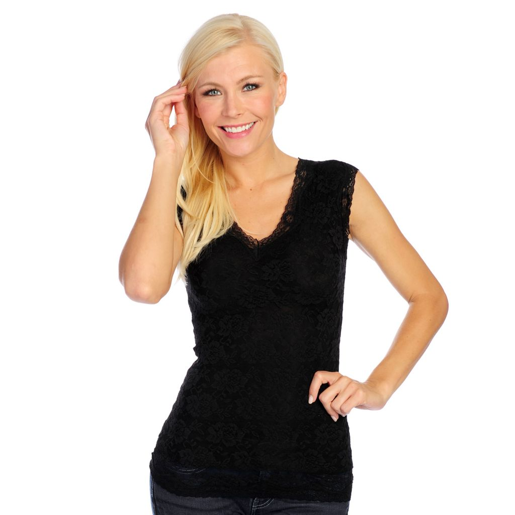 000-849 - Slim 'N Lift Caresse™ Stretch Lace Sleeveless V-Neck Top