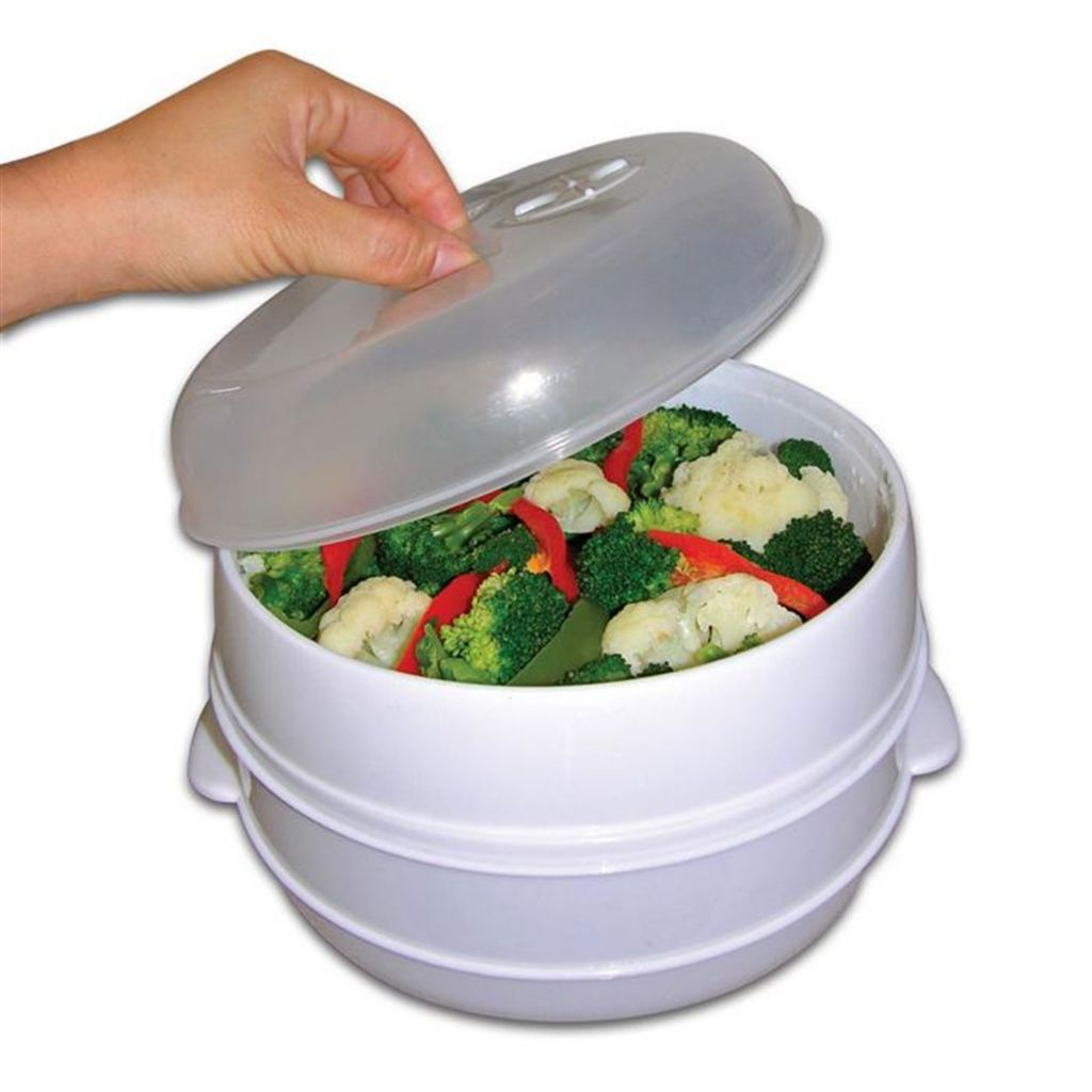 000-918 - Two-Tier Microwave Steamer Food Cooker