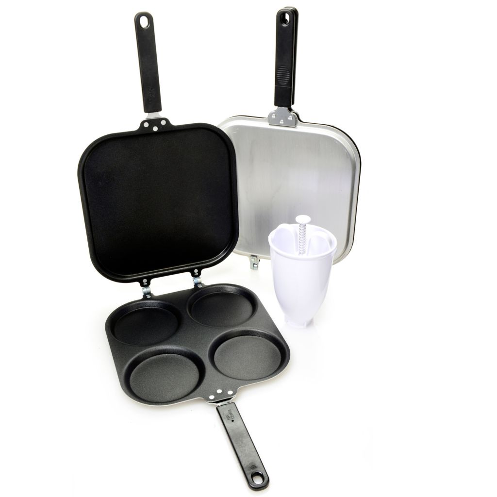 000-930 - Perfect Pancake® Set of Two Nonstick Flip Pans w/ Batter Dispenser