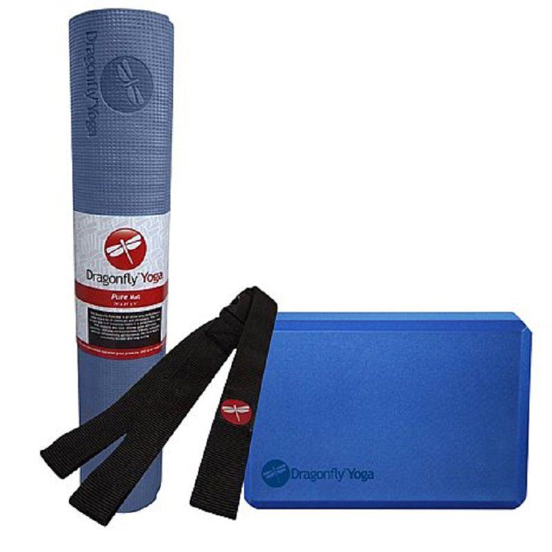 001-113 - Dragonfly Yoga Three-Piece Yoga Mat, Strap & Block Essentials Kit