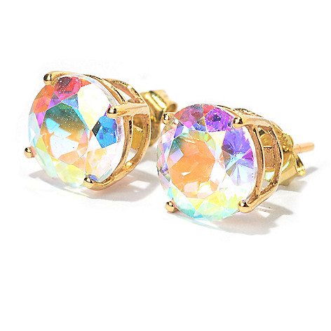 100-236 - Gem Treasures® 14K Gold 8mm Gemstone ''Kellie Anne'' Stud Earrings