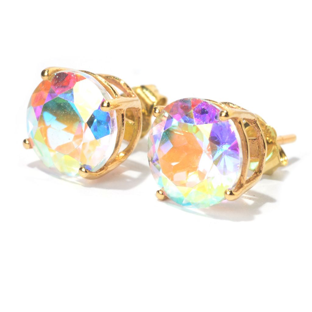 "100-236 - Gem Treasures 14K Gold 8mm Gemstone ""Kellie Anne"" Stud Earrings"