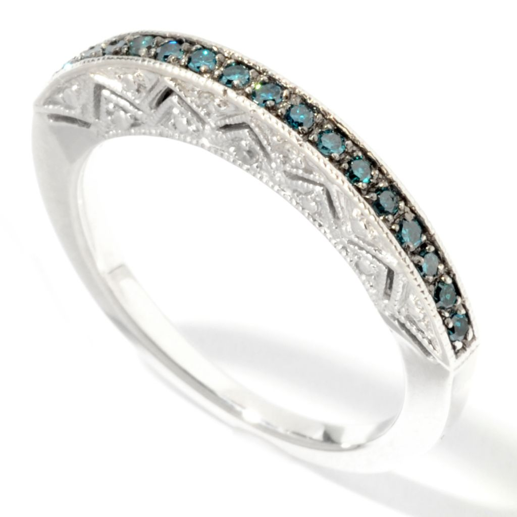 101-145 - Diamond Treasures Sterling Silver 0.16ctw Fancy Color Diamond Cut-out Ring