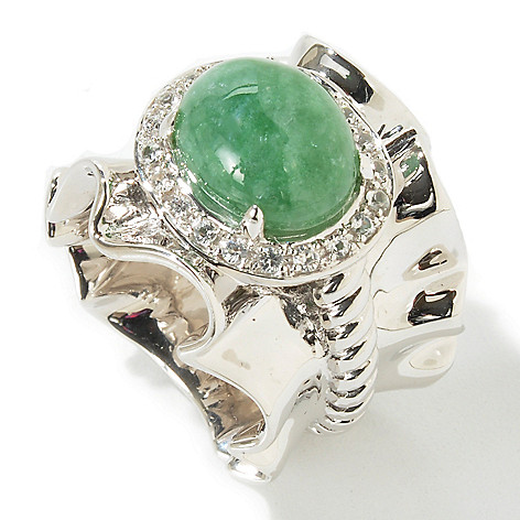 103-658 - Gem Insider Sterling Silver 12 x 10mm Russian Jadeite & White Sapphire Ring