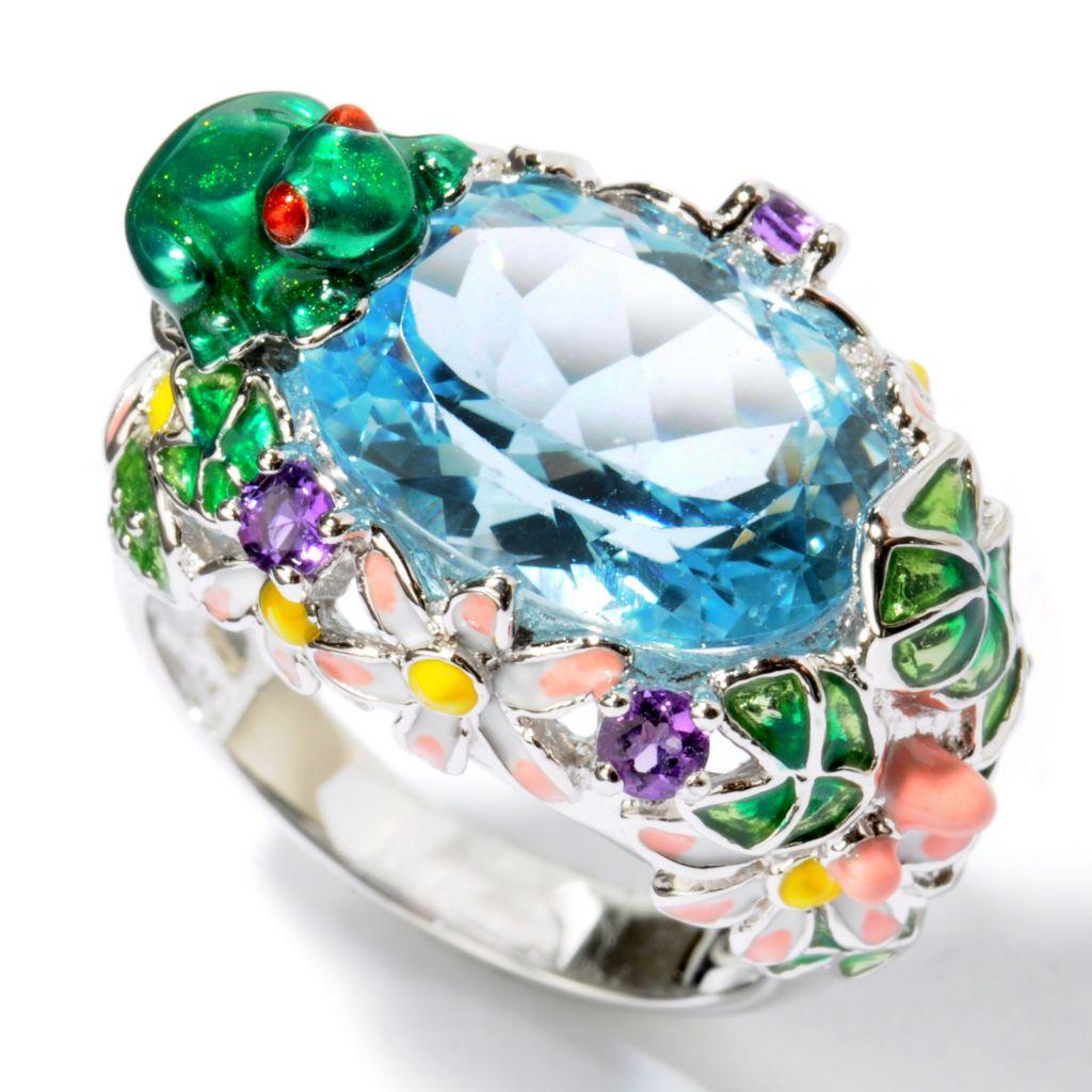 103-783 - Gem Treasures Sterling Silver 5.92ctw Sky Blue Topaz & Amethyst Enamel Floral Frog Ring