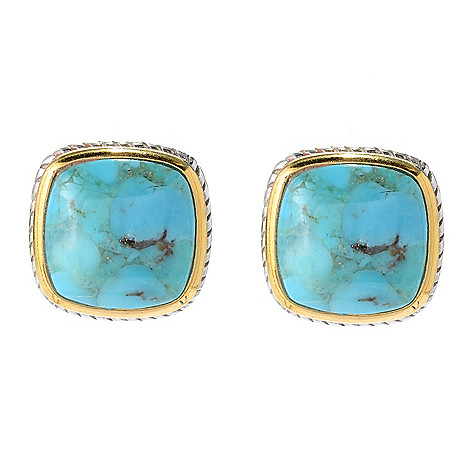 103-955 - Gem Insider® Two-tone 12mm Turquoise Framed Earrings w/ Omega Backs