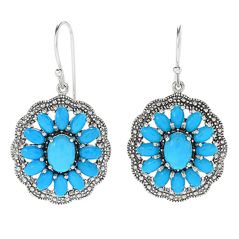 103-997 - Gem Insider® Sterling Silver Sleeping Beauty Turquoise Earrings