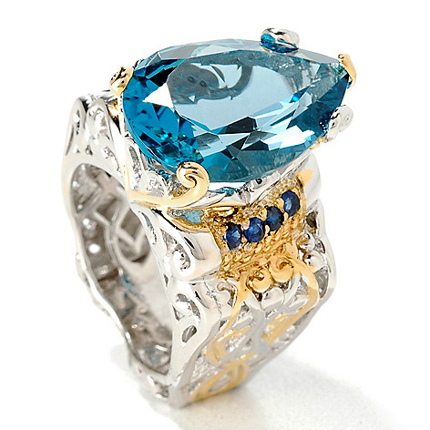 107-100 - Gems en Vogue 12.32ctw Pear Shaped London Blue Topaz Ring