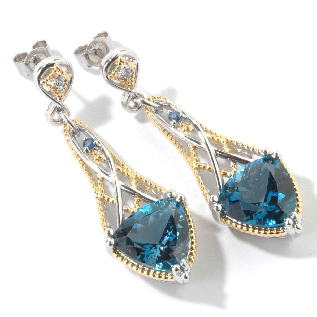 "107-101 - Gems en Vogue 1.75"" 11.38ctw London Blue Topaz Trillion Drop Earrings"