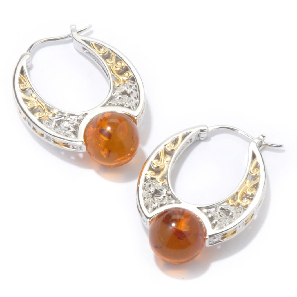 107-279 - Gems en Vogue II Baltic Amber Bead w/ White Sapphire Hoop Earrings
