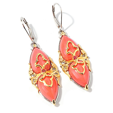107-443 - Gems en Vogue Pear-Shaped Bamboo Coral Marquise Drop Earrings