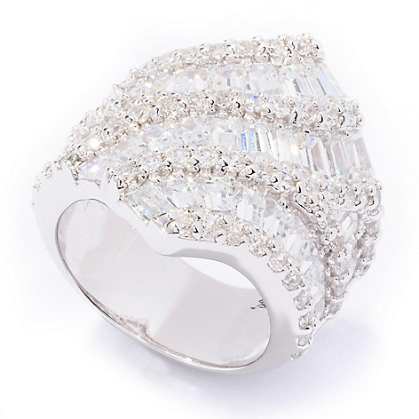 109-788 - Brilliante® Platinum Embraced™ Baguette & Round Simulated Diamond Wave Ring
