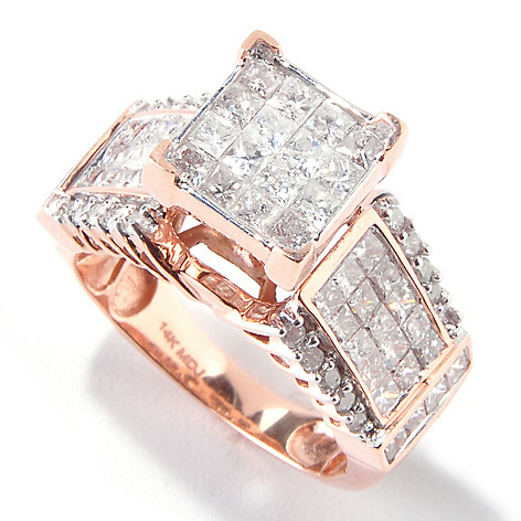 111-121 - Diamond Treasures® 14K Gold 2.07ctw Invisible Set Princess Cut Diamond Ring