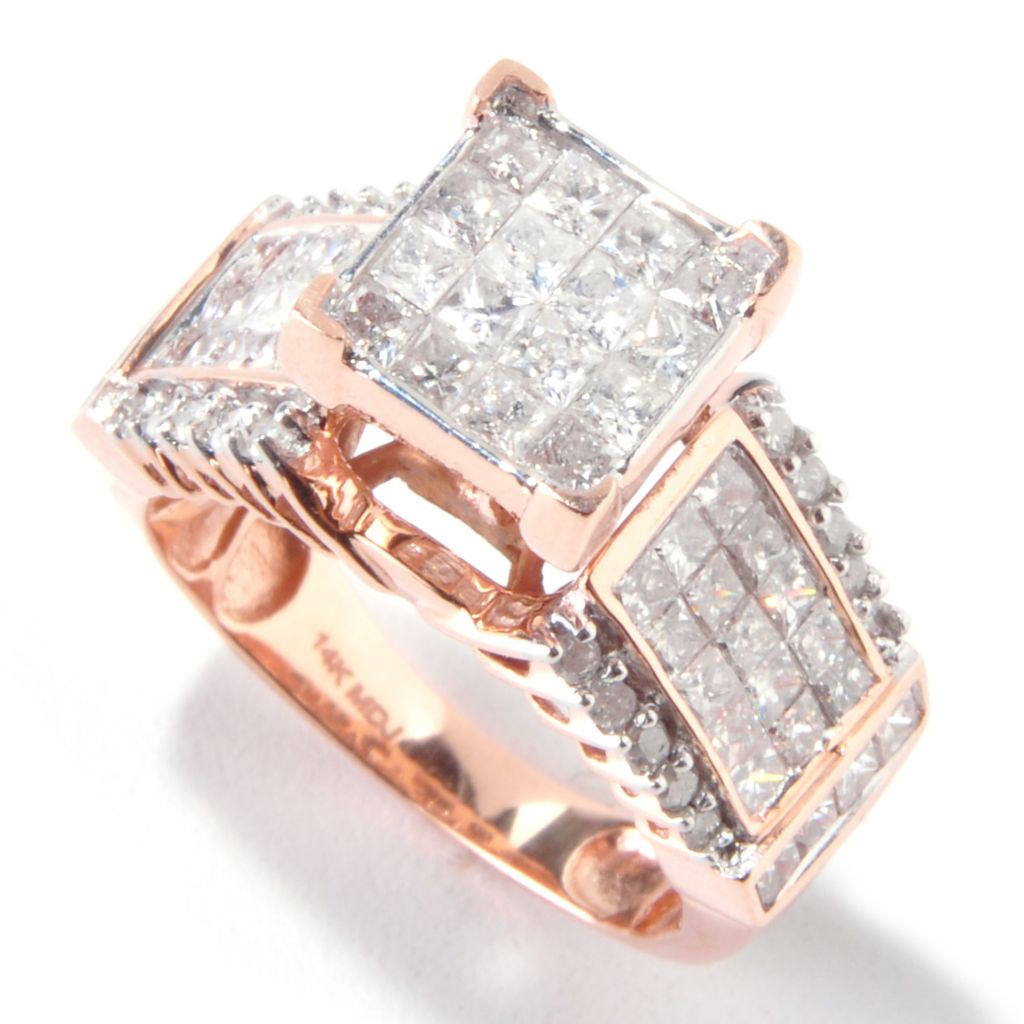 111-121 - Diamond Treasures 14K Gold 2.07ctw Invisible Set Princess Cut Diamond Ring