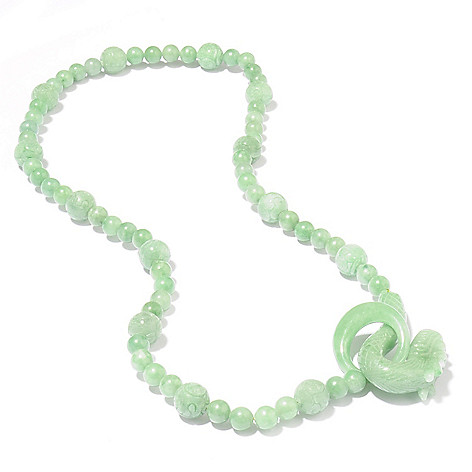 111-195 - 24'' Hand-Carved Opulent Jade Animal Necklace w/ Hook Clasp