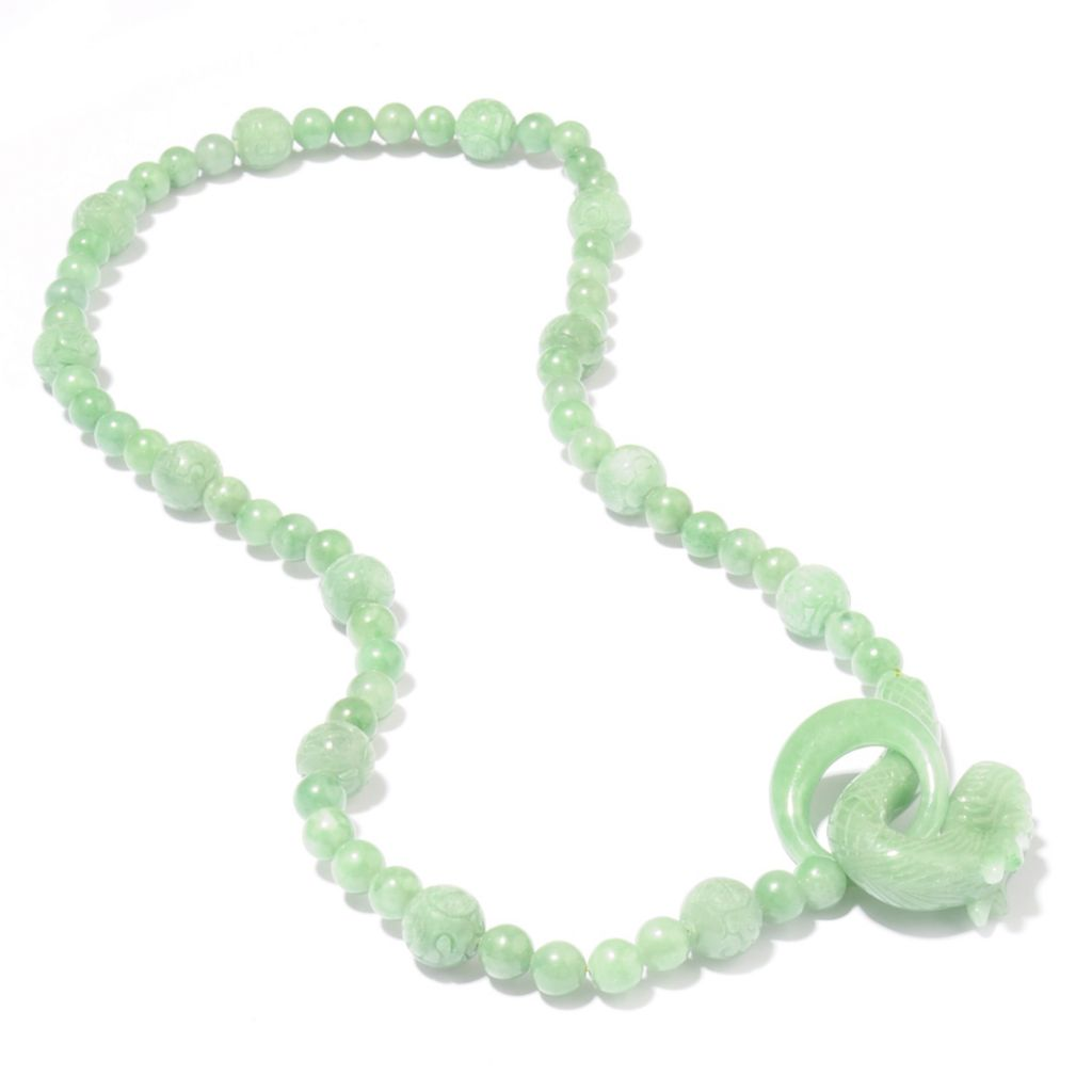 "111-195 - 24"" Hand-Carved Opulent Jade Animal Necklace w/ Hook Clasp"