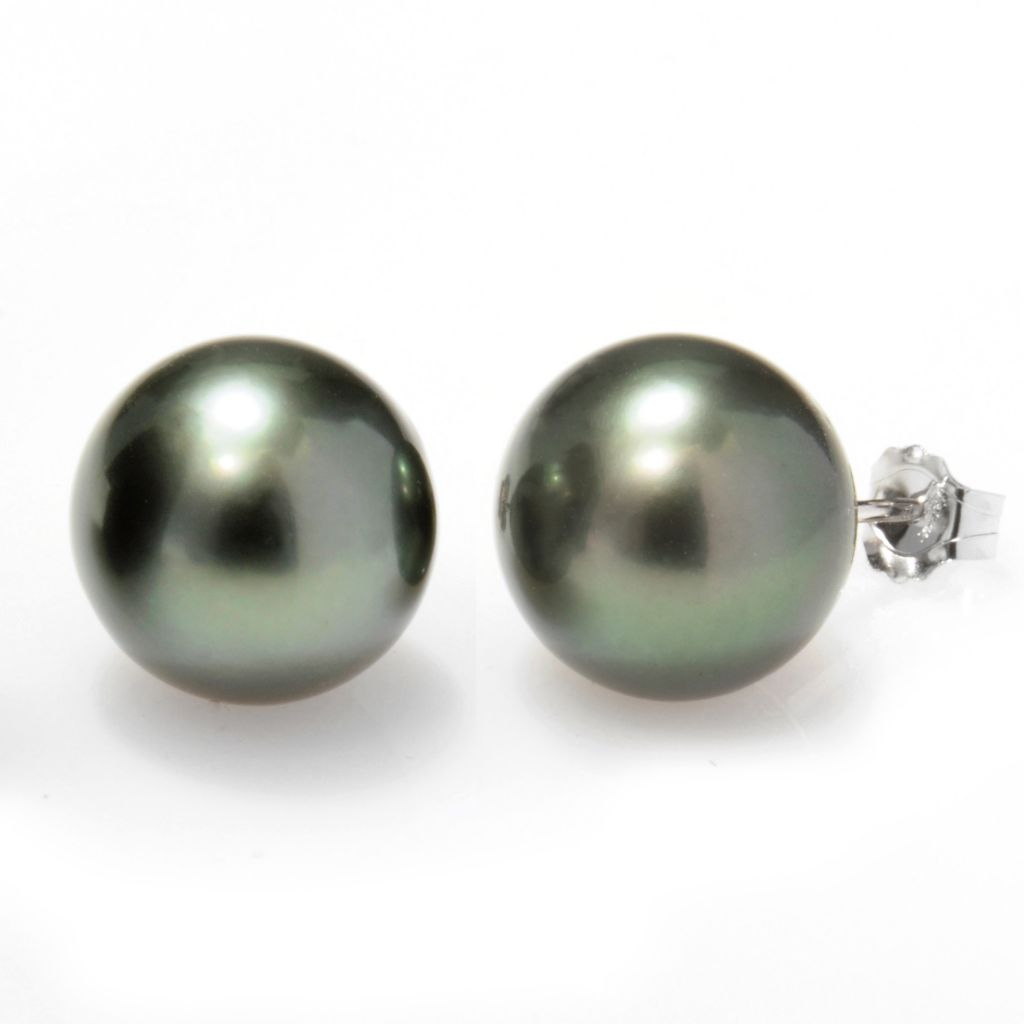 111-591 - 14K White Gold 11-12mm Semi-Round Black Tahitian Cultured Pearl Stud Earrings