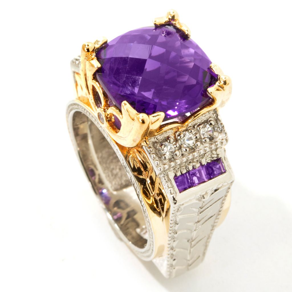 112-200 - Gems en Vogue II 6.94ctw Checkerboard-Cut Cushion Amethyst Ring