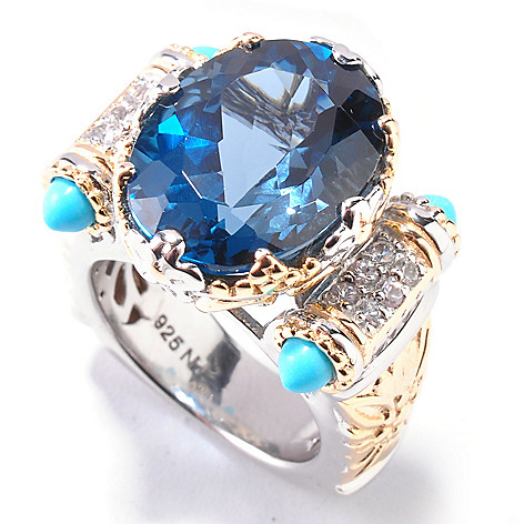 112-380 - Gems en Vogue II 11.95ctw London Blue Topaz & Turquoise Bullet Ring