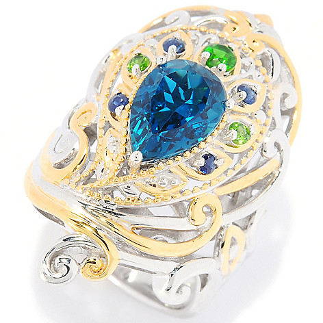 112-544 - Gems en Vogue II 3.03ctw London Blue Topaz & Multi-Gem Peacock Ring