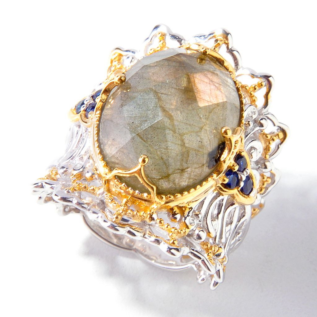 112-689 - Gems en Vogue 16 x 12mm Oval Russian Labradorite & Sapphire Ring