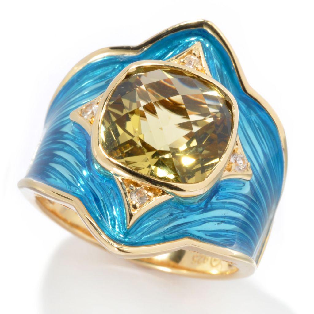 112-717 - Omar Torres 3.41ctw Exotic Gemstone, White Sapphire & Enamel Ring