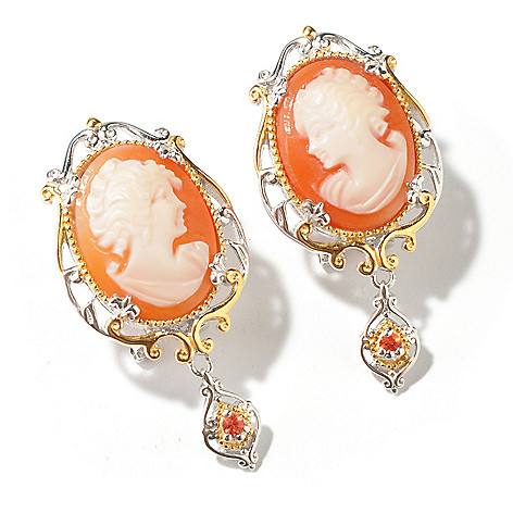 112-759 - Gems en Vogue 16 x 12mm Hand-Carved Shell Cameo Earrings w/ Omega Backs