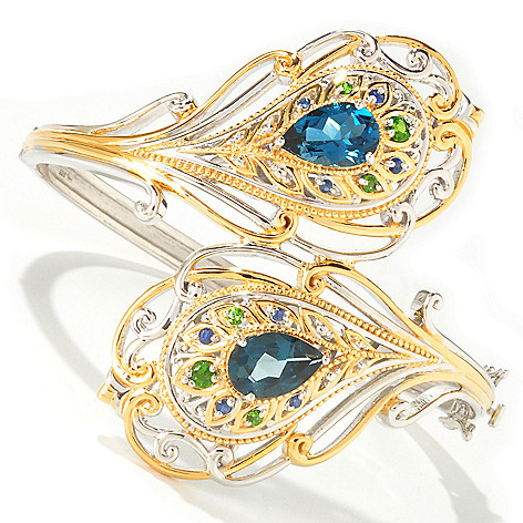 112-760 - Gems en Vogue II 8.30ctw London Blue Topaz & Multi-Gem Peacock Hinged Bangle Bracelet