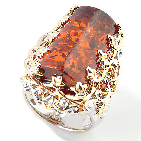 112-763 - Gems en Vogue II Special-Cut Baltic Amber w/ Orange Sapphire Ring