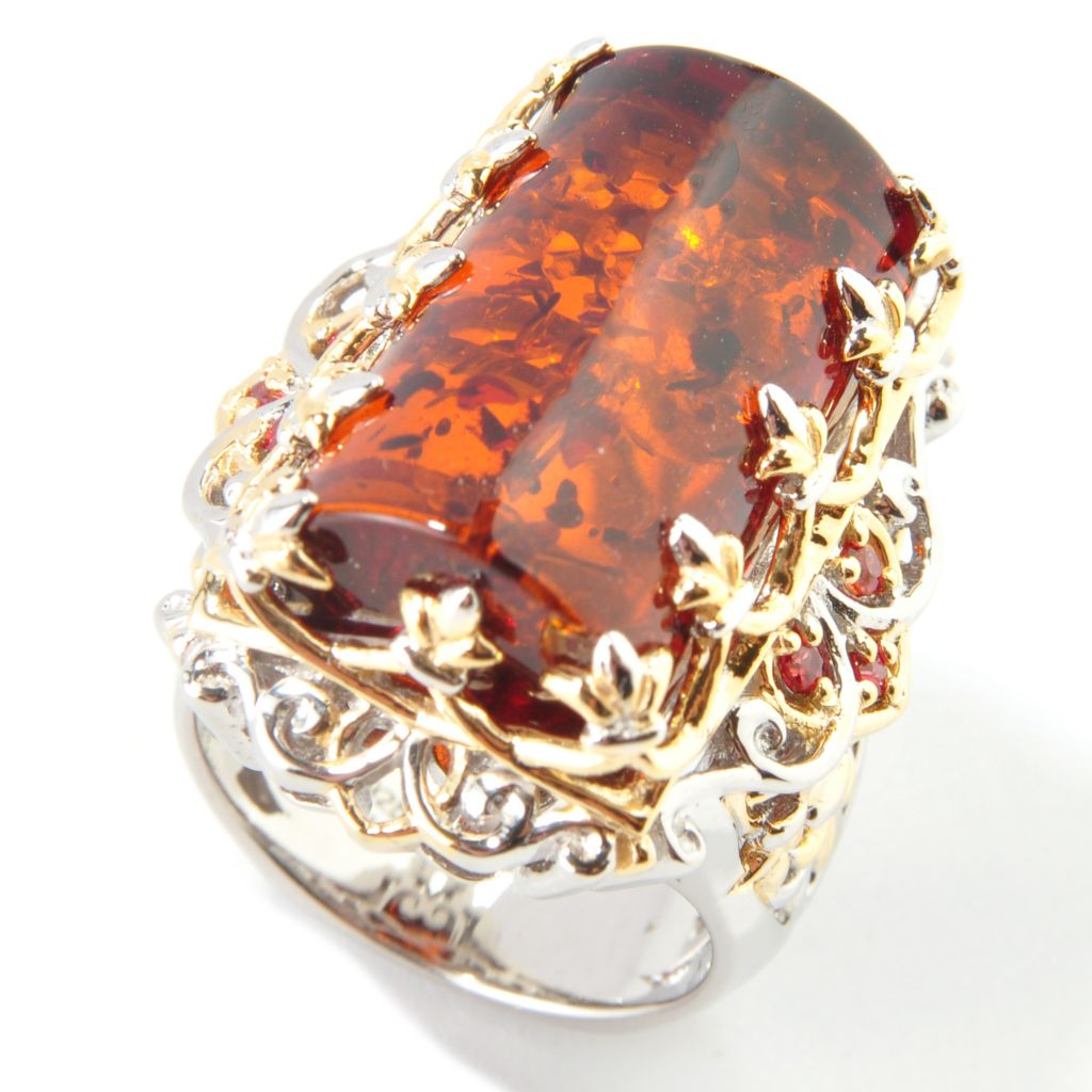 112-763 - Gems en Vogue Special-Cut Baltic Amber w/ Orange Sapphire Ring