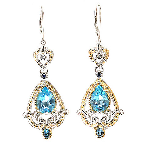 112-810 - Gems en Vogue II Swiss Blue Topaz London BlueTopaz Blue & White Sapphire Earring