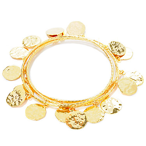 112-917 - Toscana Italiana 18K Gold Embraced™ Set of Three 8'' Martellato Charm Slip-on Bangles