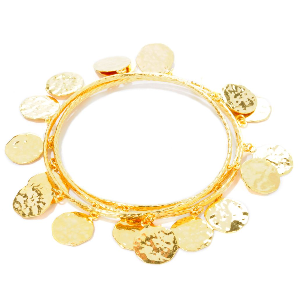 "112-917 - Toscana Italiana 18K Gold Embraced™ Set of Three 8"" Martellato Charm Slip-on Bangles"