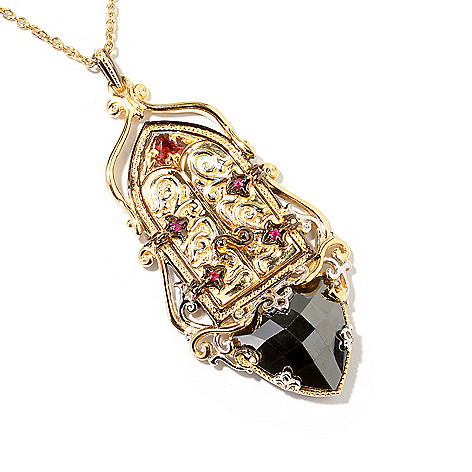 112-939 - Gems en Vogue II 16mm Trillion Hematite & Multi Gemstone Locket Pendant w/Chain