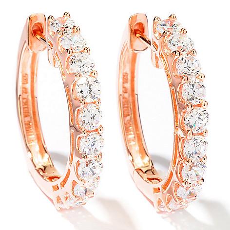 113-160 - Sonia Bitton 1'' 2.80 DEW Simulated Diamond Hoop Earrings