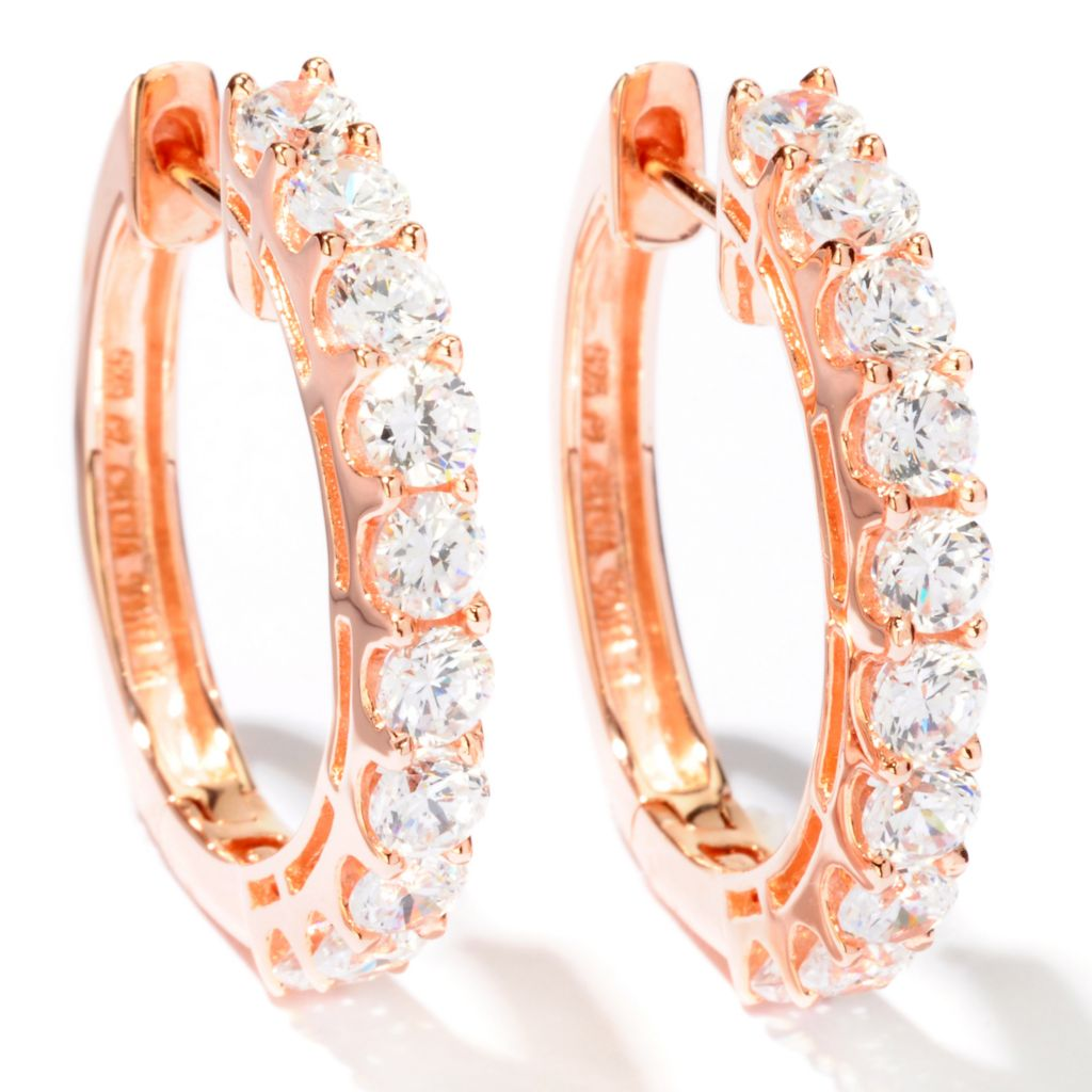 "113-160 - Sonia Bitton 1"" 2.80 DEW Simulated Diamond Hoop Earrings"