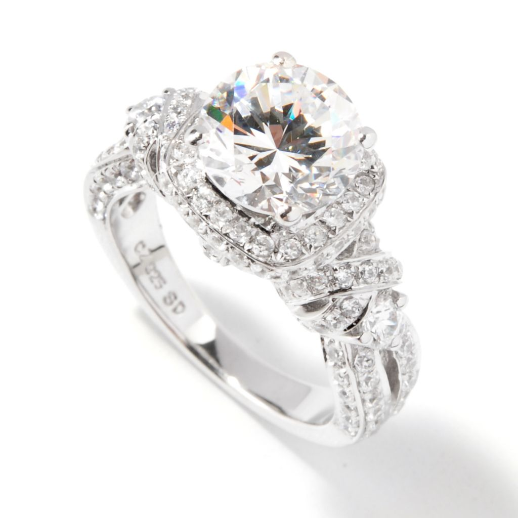 113-352 - Brilliante® 3.56 DEW Round Simulated Diamond Scalloped Shank Halo Ring