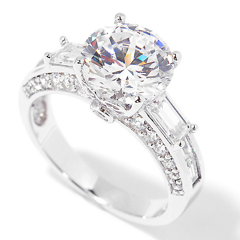113-356 - Brilliante® Platinum Embraced™ 4.87 DEW Round Cut Simulated Diamond Fancy Gallery Ring