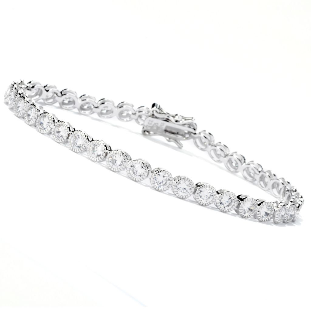 113-421 - Brilliante® Round Bezel Set Brilliant Cut Simulated Diamond Tennis Bracelet