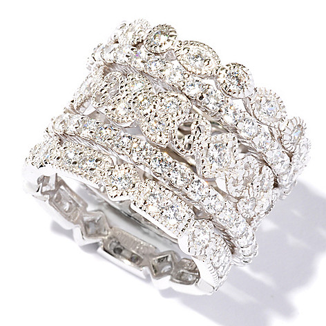 113-426 - Brilliante® Platinum Embraced™ 2.68 DEW Simulated Diamond Eternity Rings
