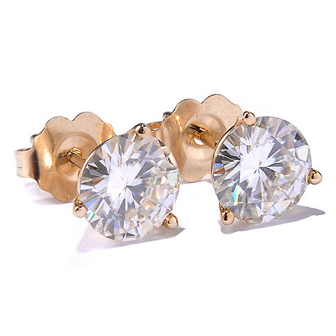 113-450 - Forever Brilliant Moissanite 14K Gold 1.76 DEW Martini Stud Earrings