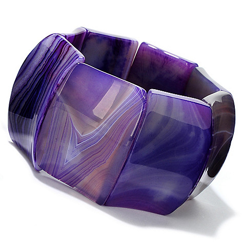 113-862 - 7''  Dyed Agate Concave Stretch Bracelet