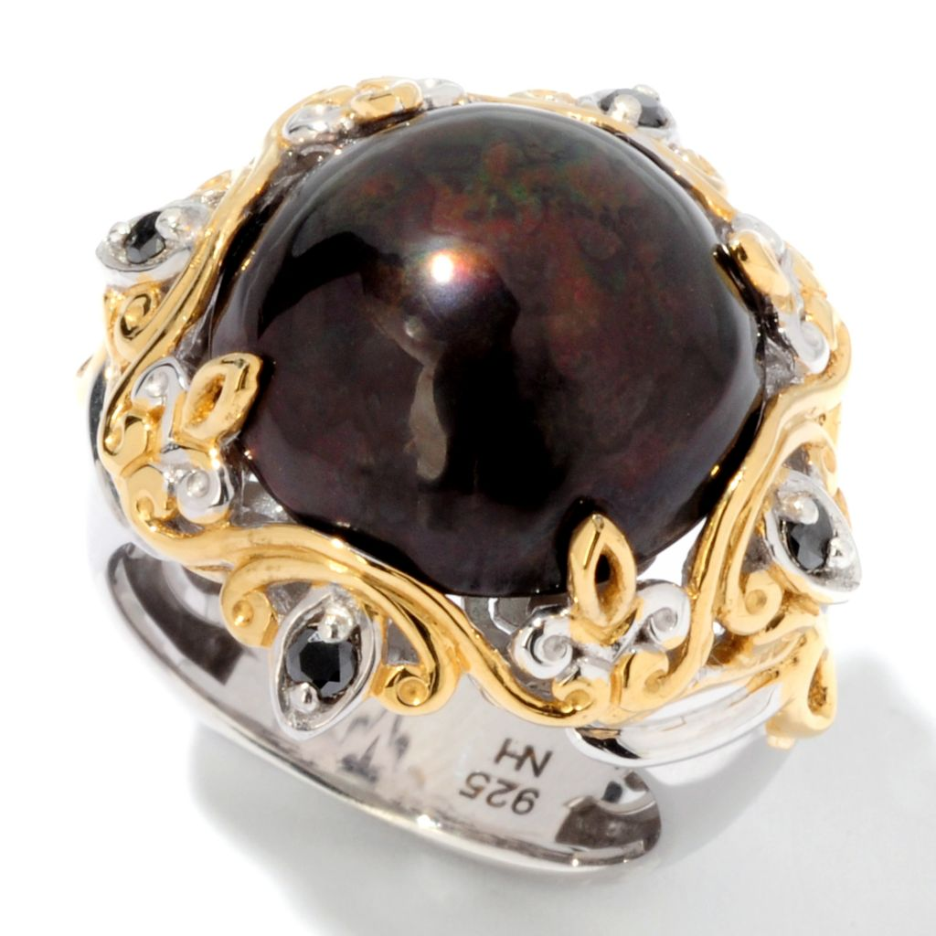 113-959 - Gems en Vogue II 14-15mm Round Mabe Cultured Pearl & Diamond Ring