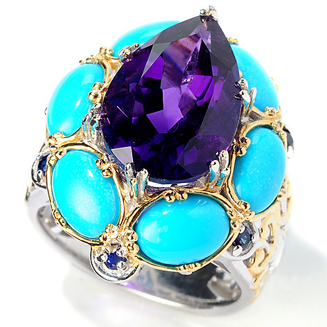 114-457 - Gems en Vogue II Amethyst, Sleeping Beauty Turquoise & Sapphire Ring