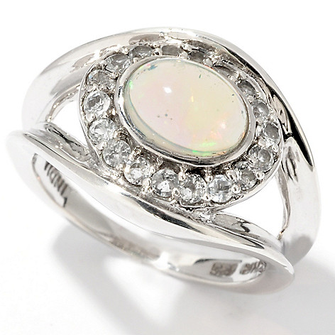 114-558 - Gem Insider Sterling Silver 8x6mm Ethiopian Opal & White Topaz Ring