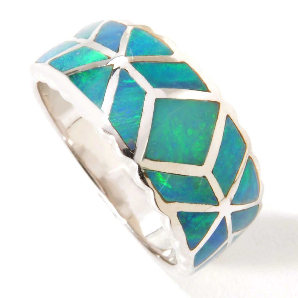 114-608 - Gem Insider Sterling Silver Genuine Boulder Opal Inlay Ring